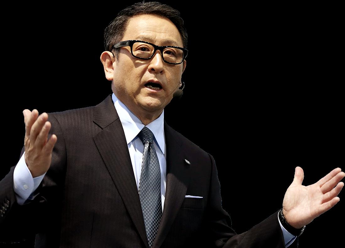 正在進行熱情演說的豐田章男社長